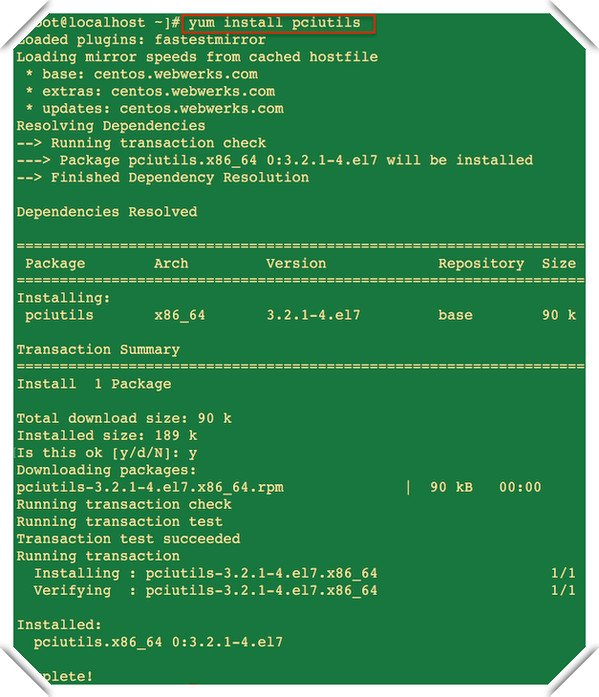 Fig.02: CentOS install pciutils package