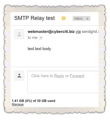 Fig.05: I tested my configuration is by sending an email to my gmail address