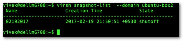 Fig.01: How to list snapshot with virsh KVM on Linux