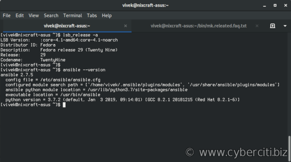 Linux check Ansible version command