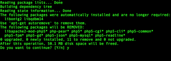 Fig.02: Deleting old php 5.6 packages