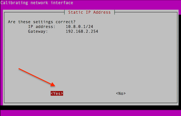 Fig.08: Are static IP settings correct? Yes.