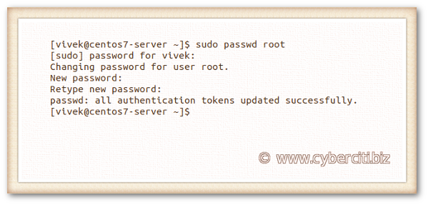 How to change root password on CentOS Linux