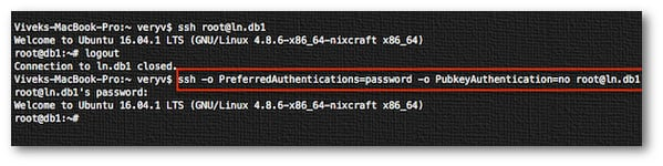 Fig.01: How to force openssh client to use only password auth