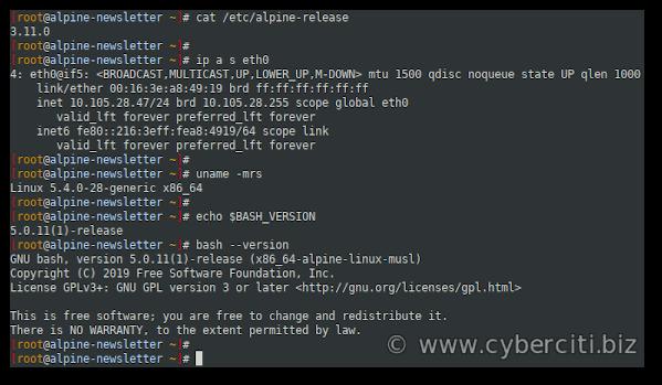 bash 5.x on Alpine Linux