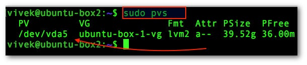Fig.01: How to display information about LVM physical volumes