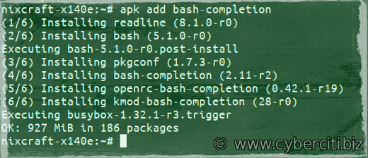 How to install bash command autocomplete on Alpine Linux