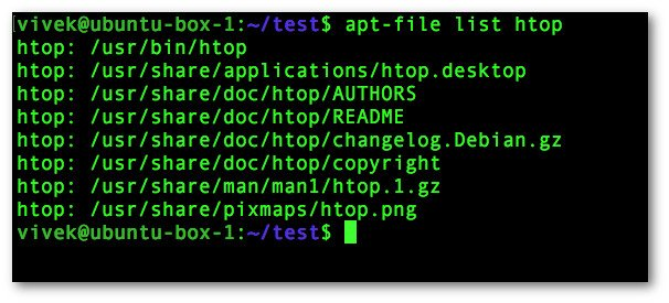 Fig.04: Using apt-file to view the contents of debian packages