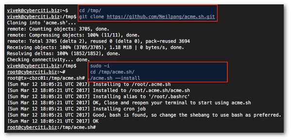 Fig.03: Clone the acme.sh client using git