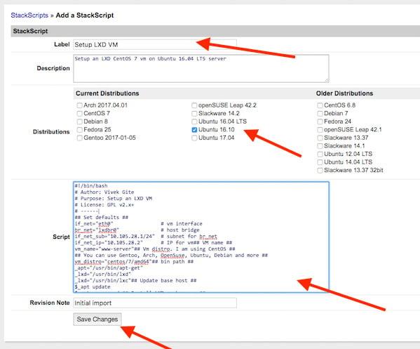 Fig.01: StackScripts - Run a shell script on Linode cloud