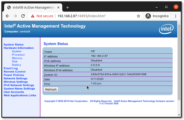 Intel Active Management Technology [AMT] web interface