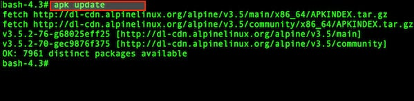 Fig.01: How to update the package list in Alpine Linux