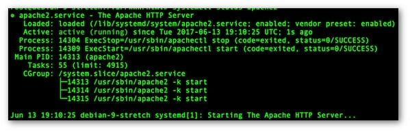Fig.02: Controlling Apache 2 server with systemctl command