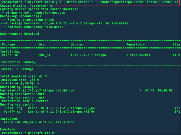 Fig.02: Installing mainline stable Linux kernel for my CentOS 7 box