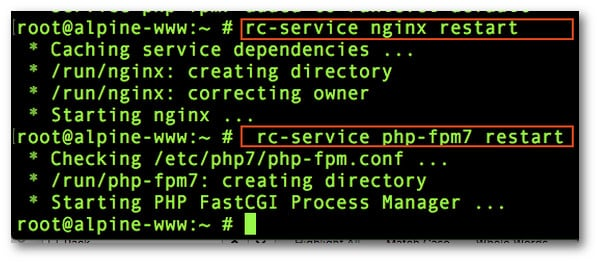 Fig.03: Starting/Stopping PHP and Nginx services