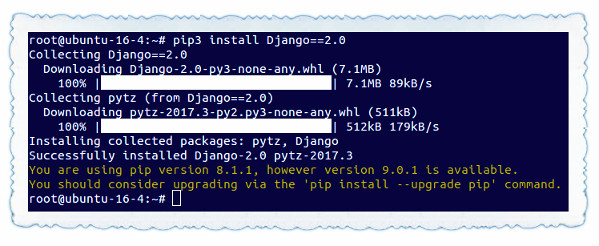 Fig.01: Install Django 2.x using pip/pip3 command
