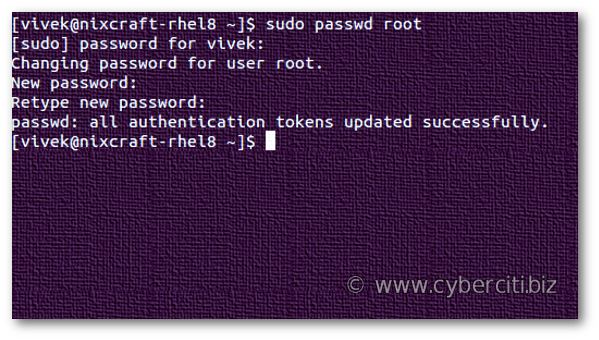 How to change root password on RHEL