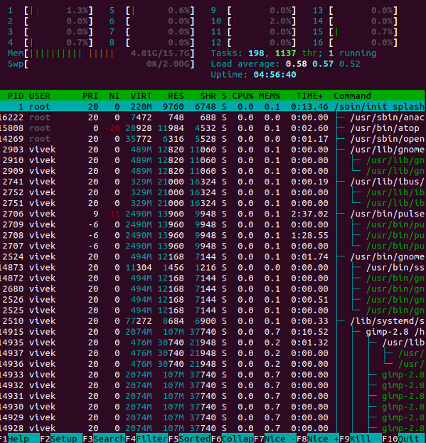 How to view running process in Linux using htop