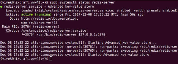 Fig.01: redis-server.service - Advanced key-value store status on an Ubuntu Linux