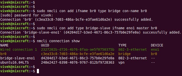Create bridge interface using nmcli on Linux