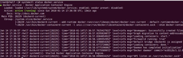 List status of Docker on CentOS RHEL server