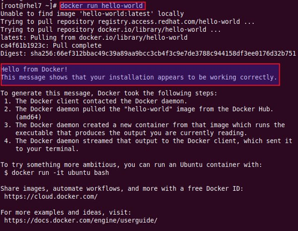 Run docker hello world for testing