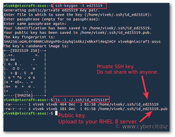 Set Up SSH Keys on RHEL 8 using ssh-keygen command