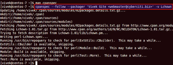 How to build Perl module rpm file with cpanspec on RHEL CentOS Linux