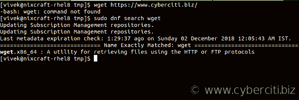 How to search for wget on RHEL 8
