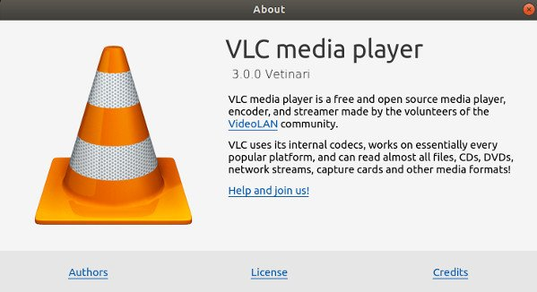 VLC Media player version 3 installed and running on Linux