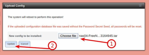 FreeNAS Restore Configuration