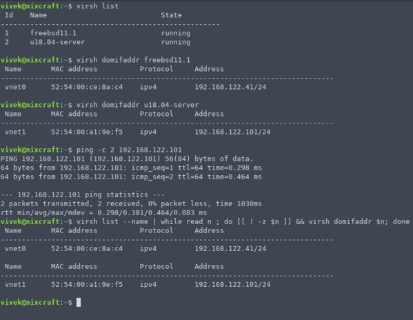 Getting a Virtual Machines IP Address from virsh