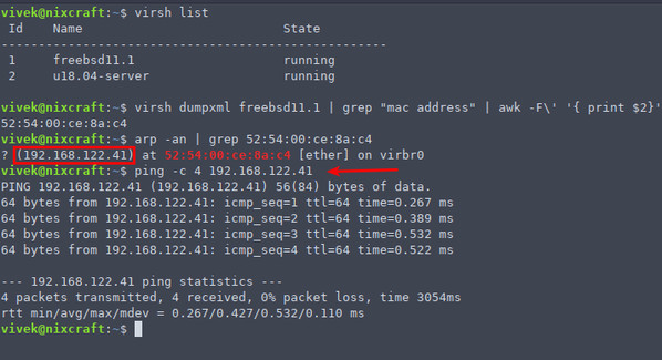 How to find ip address in linux virtual machine