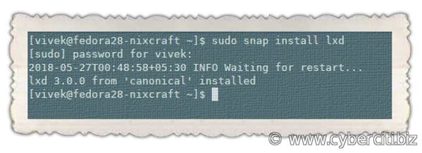 Install and setup LXD on Fedora Linux using snap command