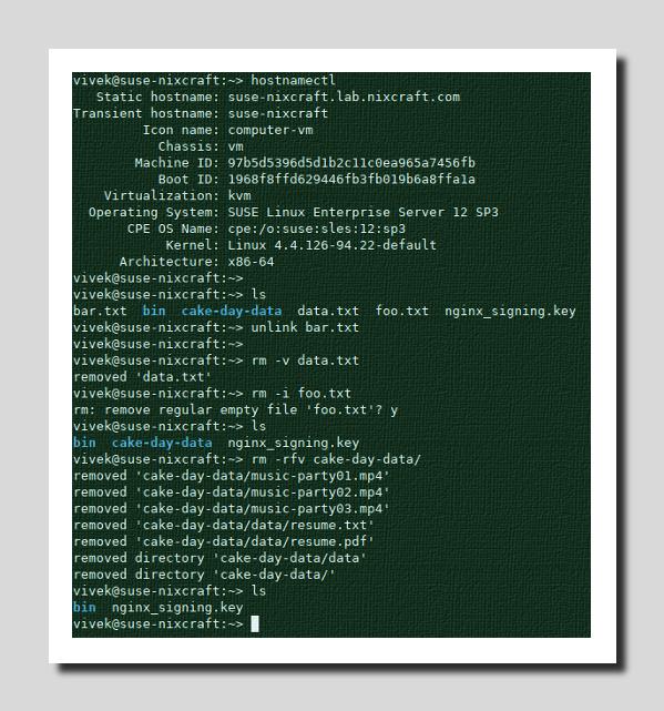 Delete and remove files on SUSE Enterprise Linux