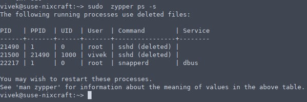 zypper ps command