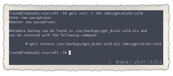 Add encrypted ZFS pool on FreeBSD server using geli command