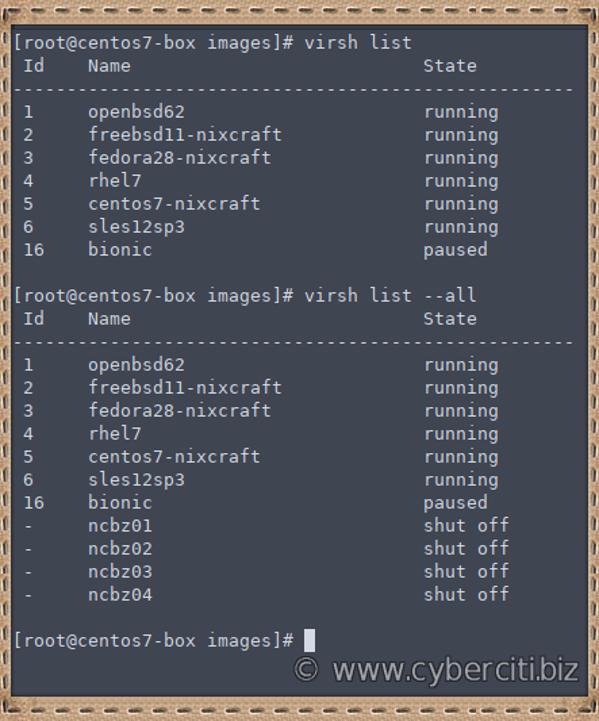 Linux list a KVM vm guest using virsh command