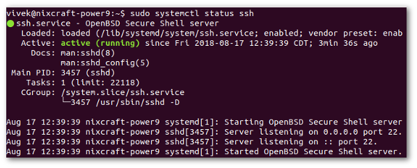 Check to confirm that OpenSSH server running on Ubuntu