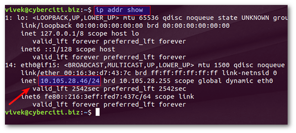 Find out Ubuntu server IP address using IP command
