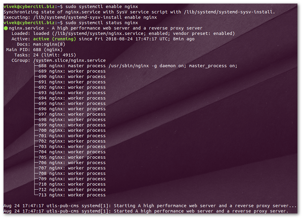 How to start stop and restart Nginx server on Ubuntu Linux