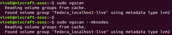 Scan your Linux system for LVM volumes using vgscan