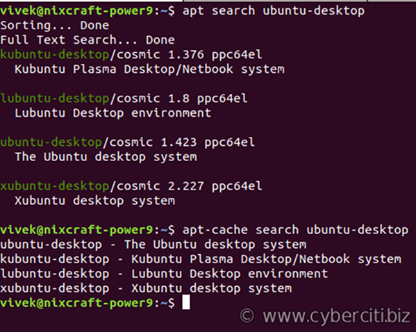 Search for Ubuntu desktop system packages using apt-cache