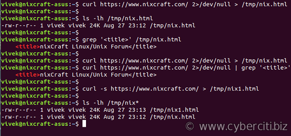 curl hide progress bar output on Linux/Unix shell scripts