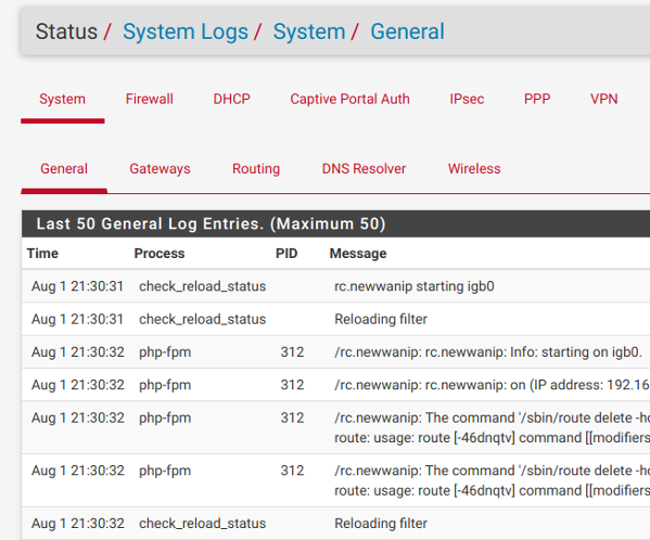 pfSense email notification and check the system logs