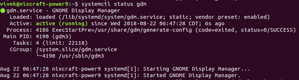 systemctl gdm status output