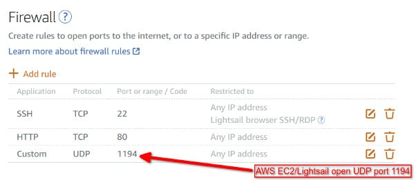 AWS EC2 Lightsail Open OpenVPN UDP port 1194 using Firewall