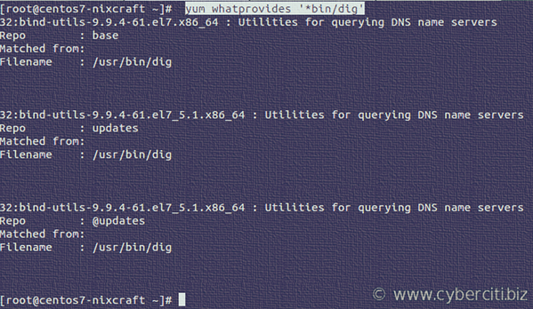 CentOS 7 dig command not found - How to install dig on