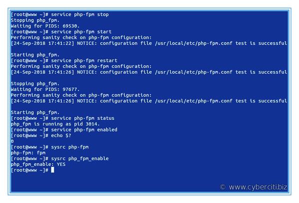 FreeBSD start stop restart PHP-fpm service commands