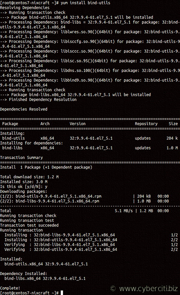 How to install dig on CentOS Linux 7 using yum command